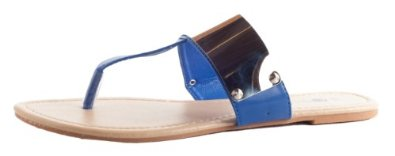 Amazon.com: Lucky 21 Women's Metallic Vamp Band T-Strap Thong Sandals: Shoes