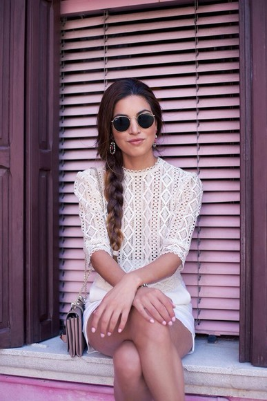 blouse skirt elegant sunglasses indie boho shirt boho chic nude clutch bag shorts summer shorts summer top