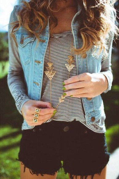 denim denim jacket denim vest jewels gold stripes black and white vest striped tshirt black and white t-shirt shorts