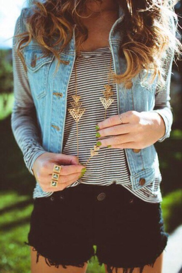 jewels gold denim stripes black and white denim jacket vest striped t-shirt black and white t-shirt denim vest shorts