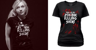 black t-shirt emily kinney cotton the walking dead zombie