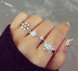 jewels ring snowflake crystal quartz silver