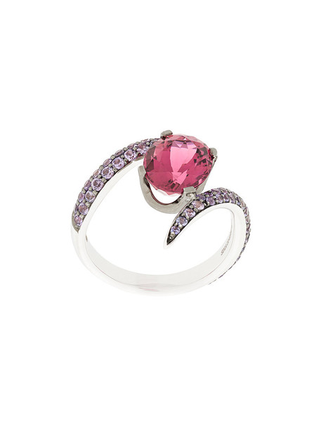 women ring gold white purple pink jewels