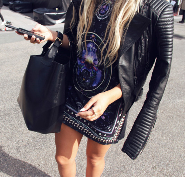 t-shirt dress indie leather jacket blouse
