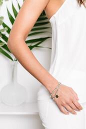 jewels,tess and tricia,wrap bracelet,beaded,bracelets,double wrap,gold charm,handcrafted,bikiniluxe