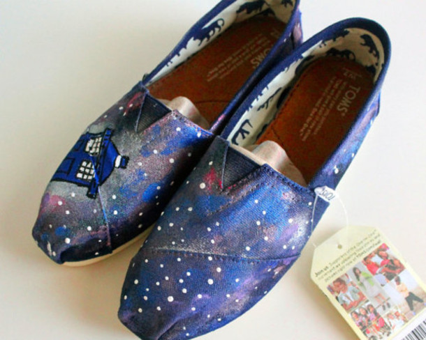 Shoes Women Painted Custom Gift Ideas Birthday Toms Doctor Who Galaxy Print