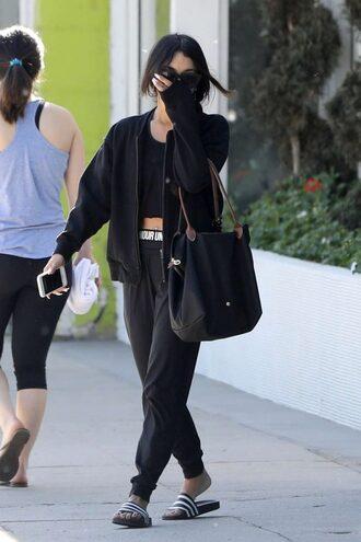 pants sweatpants vanessa hudgens slide shoes streetstyle jacket