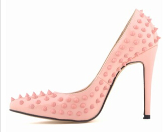 Online shop high quality hot sale women pumps red bottom studded spike high heels stiletto with spikes rivets heels sapatos shoes for women