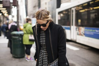 damsel in dior blogger dress coat tights shoes