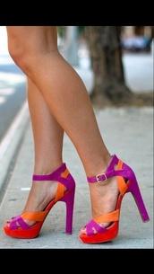 shoes,steve madden,platform heels,magenta,orange,red high heels