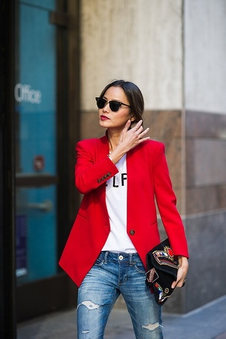 coat clothes jamie chung jacket red blazer