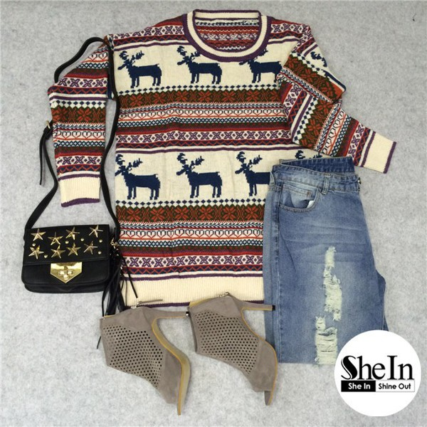Light Khaki Deer Fair Isle Christmas Pattern Oversized Sweater ...