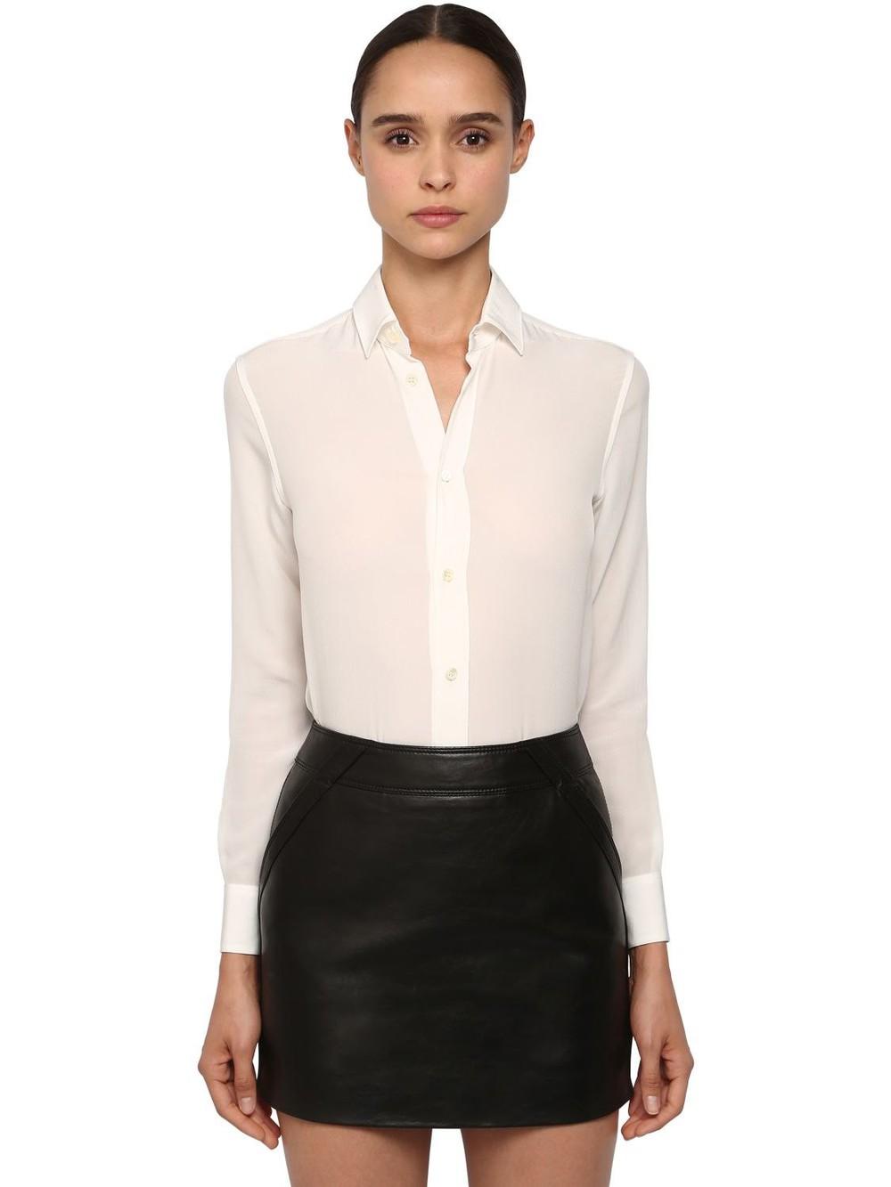 SAINT LAURENT Classic Crepe De Chine Shirt in white