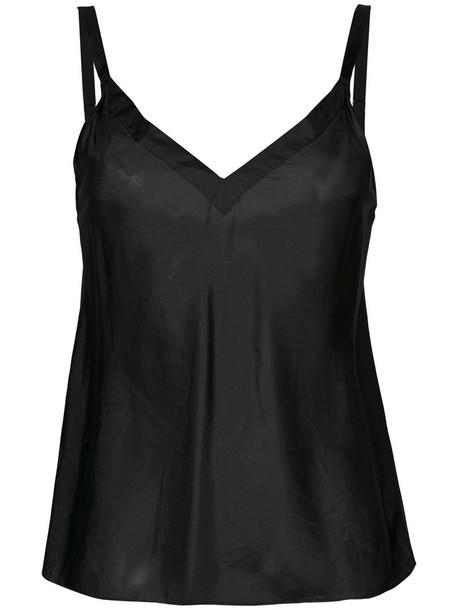 Lee Mathews top women black silk