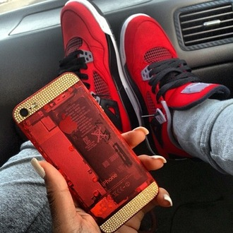 shoes jewels iphone 5 case red gold special edition skins