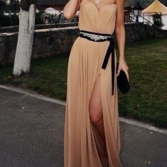 strapless dress dress prom dress black belt beige dress
