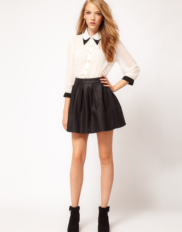 skirt skater skirt leather black leather skirt black skater