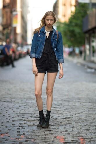 jacket denim jacket black tied shirt black shorts black boots blogger
