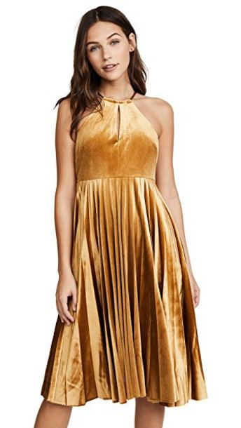 Endless Rose dress pleated dress pleated strappy yellow