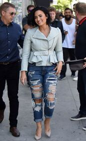 jeans,demi lovato,ripped jeans,biker jacket,spring,spring outfits,jacket
