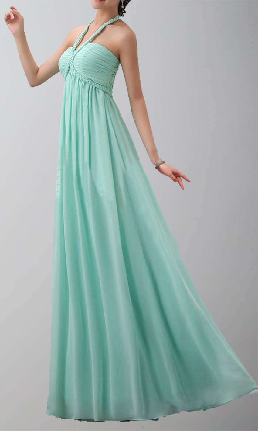 Teal Halter Neck Long Chiffon Prom Dress/Bridesmaid Dress KSP169 ...
