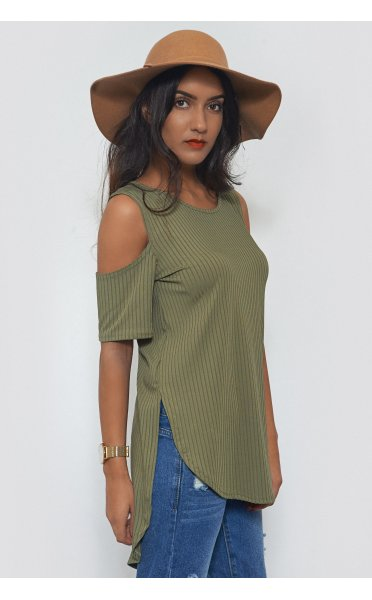 c02d9cd25b42e0 Cold Shoulder Oversized Khaki Ribbed Top - from The Fashion Bible UK