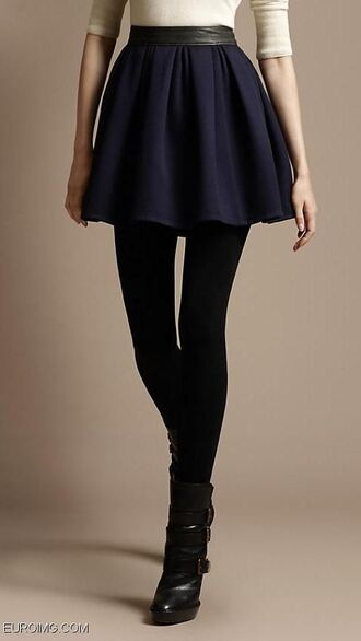 skirt clothes skater skirt mini skirt blue skirt boots