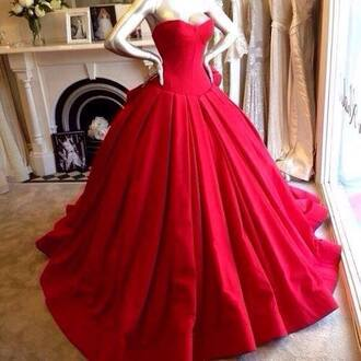 dress ball gown red red dress princess dress long evening dress