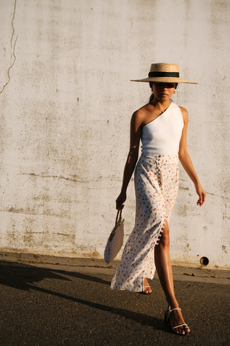 hat tumblr sun hat top asymmetrical top asymmetrical skirt slit skirt white skirt wrap skirt sandals flat sandals