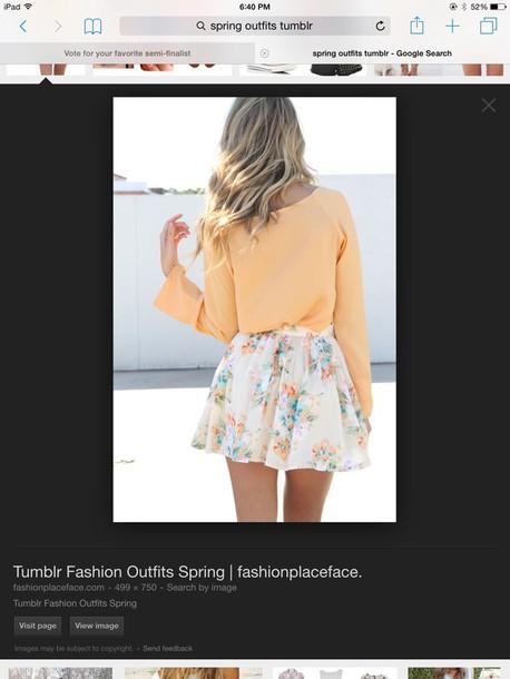 skirt peach long sleeves spring