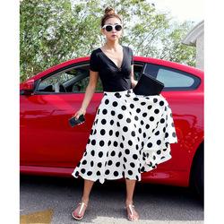 Voorjaar nieuwe 2014 nieuwe vrouwen dames hoge taille vintage polka dot sjerpen geplooide vintage midden  in  van  op Aliexpress.com