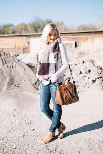 wild one forever - fashion & style by kristin blogger dress scarf sweater jeans shoes bag fall outfits brown bag skinny jeans booties