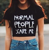 t-shirt,crop tops,normal people scare me,grunge t-shirt,top,tate,american horror story,black crop top