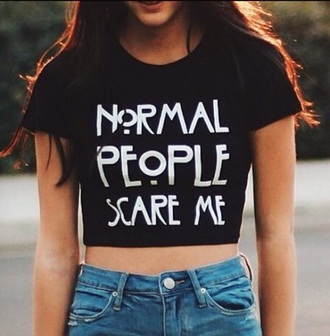 t-shirt crop tops normal people scare me grunge t-shirt