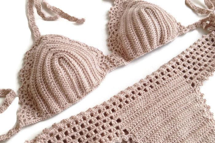 Powder pink swimsuit crochet bikini top bikini bottoms cheeky bikini brazilian bottoms swimwear crochet bikini beach fashion sexy bikinis