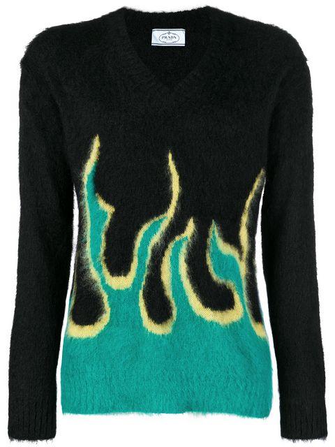 0ed8afb64f3 Prada Flame Knit Jumper - Farfetch
