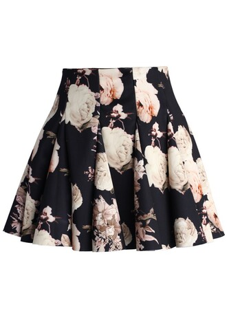 skirt chicwish faded roses skirt mini skater skirt floral skirt fashion and chic floral skater skirt cute dress cute outfits trending dress trending clothes