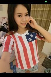 top,weed stars,american flag,crop tops