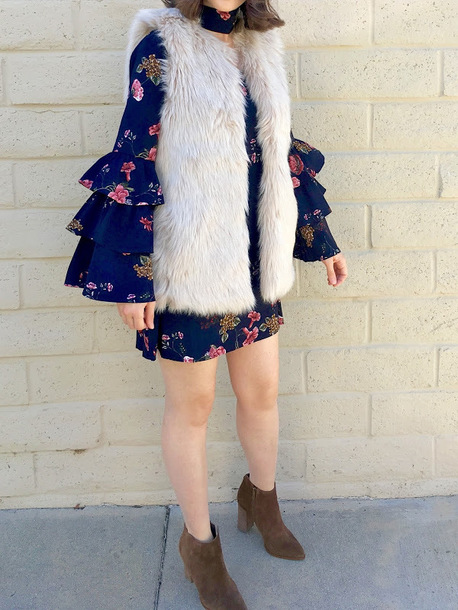 cost with me blogger jacket dress shoes fur vest bell sleeve dress ankle boots