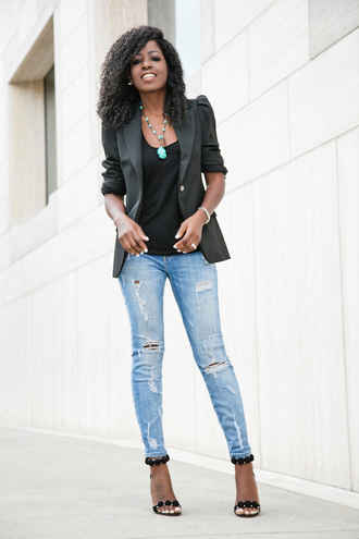 blogger jacket tank top jeans shoes