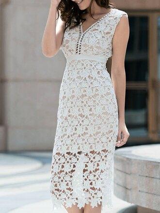 dress white lace romantic summer dress fashion style gamiss