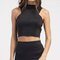 Back zip mock neck crop top - black