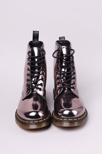 shoes boots grunge fashion drmartens metallic shoes metallic combat combat boots metalic shoes holographic boots shiny patent shoes grey silver