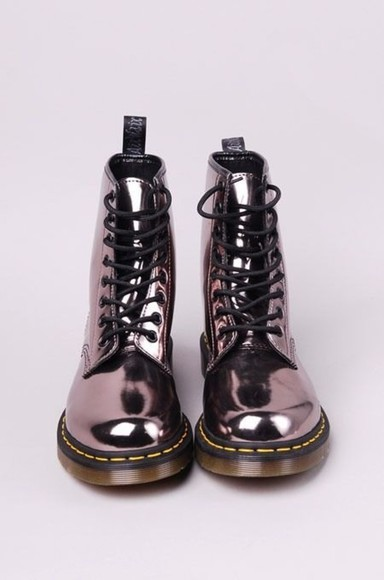 shoes boots metallic combat combat boots grunge fashion DrMartens