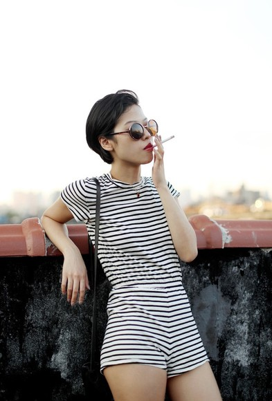 black and white black bag shorts fashion stripes romper og fashion fashion vibe sunglasses