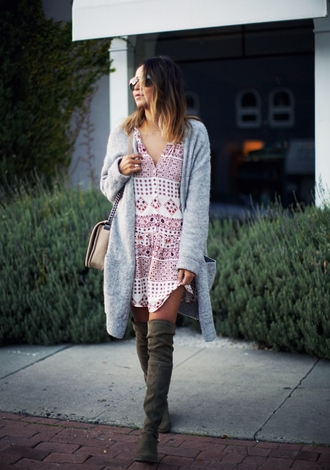 sincerely jules blogger suede boots shirt dress cardigan