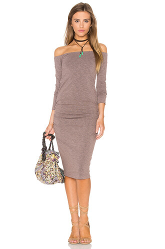 dress midi dress off the shoulder midi brown
