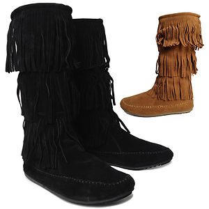 Women's 3 Layer Fringe Moccasin Flat Heel Mid Calf Slouch Boots ...