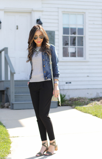 lilly's style blogger jewels jacket top pants shoes bag necklace jewelry silver necklace statement necklace