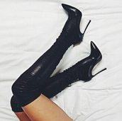 boots,heels,jumpsuit,overtheknee,fashion,shoes,black leather boot,black,knee high,thigh highs